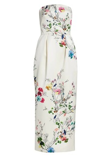 Monique Lhuillier Duchesse Botanical Tea-Length Column Gown