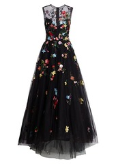 Monique Lhuillier Embellished Floral Sleeveless Tulle Gown