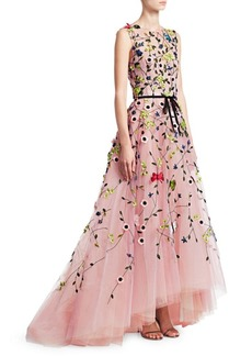 Monique Lhuillier Embellished Floral Tulle Ball Gown