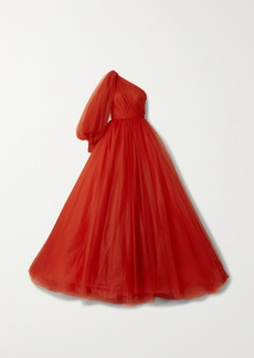 Monique Lhuillier Embellished One-sleeve Tulle Gown