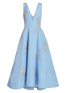 Monique Lhuillier Embellished Silk High-Low Gown