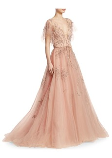 Monique Lhuillier Embellished Tulle Gown