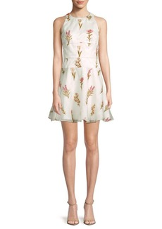 Monique Lhuillier Embroidered Organza Cocktail Dress