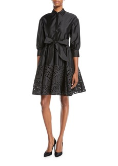 Monique Lhuillier Eyelet-Hem Taffeta Shirtdress