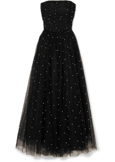 Monique Lhuillier Faux Pearl-embellished Tulle Gown