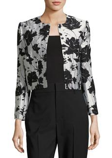 Monique Lhuillier Floral Cloque Jacquard Cropped Jacket
