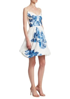 Monique Lhuillier Floral-Print Drape Bodice Silk Cocktail Dress