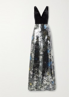 Monique Lhuillier Floral-print Sequined Tulle And Velvet Gown