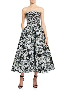 Monique Lhuillier Floral-Print Strapless Mikado Gown with Lace