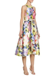 Monique Lhuillier Floral Printed Dress