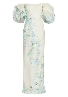 Monique Lhuillier Floral Puff-Sleeve Gown