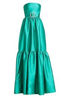 Monique Lhuillier Flounce Hem Crystal Belt Strapless Gown