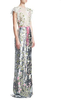 Monique Lhuillier Flutter Sleeve Embroidered Sequin Column Gown