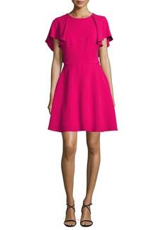 Monique Lhuillier Flutter-Sleeve Tie-Back Fit & Flare Dress