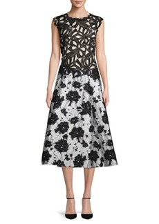 Monique Lhuillier Garden Floral A-Line Dress