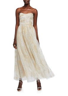 Monique Lhuillier Glittery Ruched Bodice Strapless Chiffon Fit-&-Flare Dress