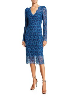Monique Lhuillier Guipure-Lace Midi Dress