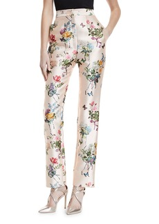 Monique Lhuillier High-Waist Botanical-Print Straight-Leg Mikado Pants