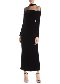 Monique Lhuillier Illusion Mock-Neck Long-Sleeve Velvet Column Evening Gown