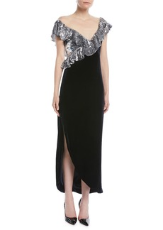 Monique Lhuillier Illusion-Neck Sequin-Ruffle Tea-Length Velvet Cocktail Dress
