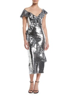 Monique Lhuillier Illusion-Neck Slim Tea-Length Cocktail Dress w/Asymmetric Ruffle Detail