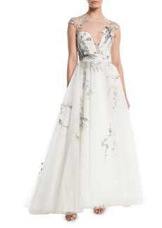 Monique Lhuillier Illusion-Yoke Sequin-Embroidered Tulle Evening Gown
