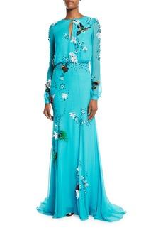 Monique Lhuillier Jewel Neck Long-Sleeve Gown
