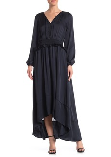 Monique Lhuillier Long Blouson Sleeve Sateen Dress