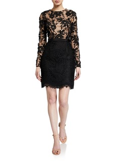 Monique Lhuillier Long-Sleeve Floral Embroidered Mesh Cocktail Dress