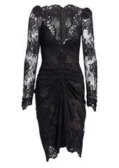 Monique Lhuillier Long-Sleeve Lace Cocktail Dress