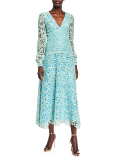 Monique Lhuillier Long-Sleeve Lace Dress