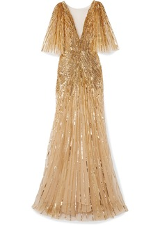 Monique Lhuillier Mesh-trimmed Sequin-embellished Tulle Gown