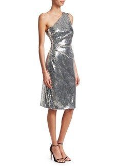 Monique Lhuillier Metallic One-Shoulder Sheath Cocktail Dress