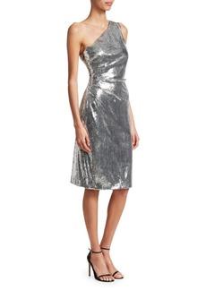 Monique Lhuillier Metallic One-Shoulder Sheath Dress