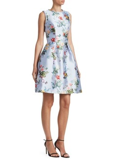Monique Lhuillier Mikado Fit-&-Flare Sleeveless Dress
