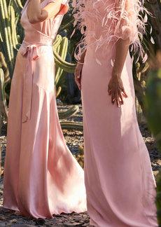 Monique Lhuillier - Women's Crepe Satin Bias Gown - Pink - Moda Operandi