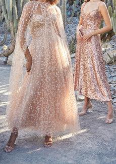 Monique Lhuillier - Women's Daisy Glittered Tulle Cape - Pink - Moda Operandi