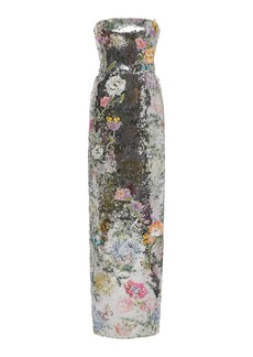 Monique Lhuillier - Women's Embroidered and Sequined Strapless Gown - Silver - Moda Operandi