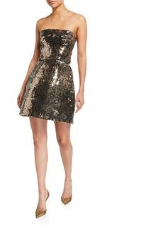 Monique Lhuillier Animal Print Sequined Strapless Dress