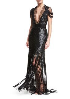 Monique Lhuillier Beaded Lace Cold-Shoulder Fringe Gown