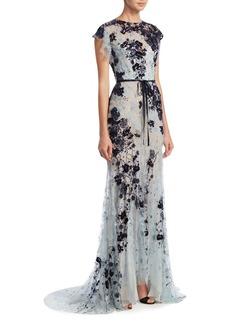 Monique Lhuillier Beaded Lace Gown