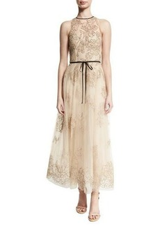 Monique Lhuillier Belted Embroidered Midi Gown