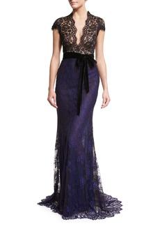Monique Lhuillier Belted Lace Column Gown