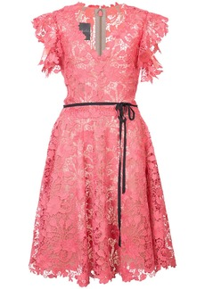 Monique Lhuillier belted lace dress - Pink & Purple