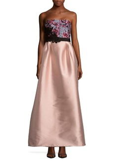 Monique Lhuillier Blush Floral Gown