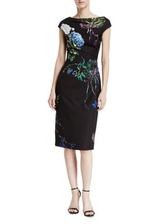 Monique Lhuillier Botanical-Print Crepe Cap-Sleeve Draped Sheath Dress