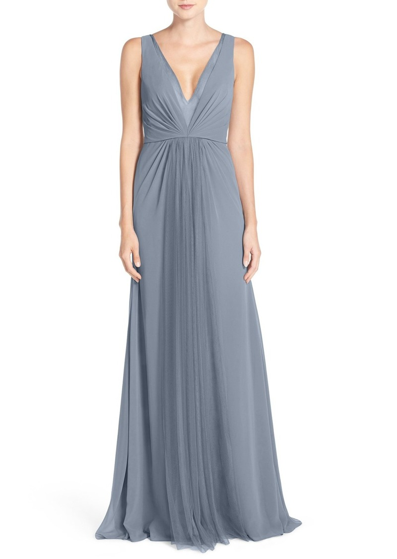 Monique Lhuillier Monique Lhuillier Bridesmaids Deep V-Neck Chiffon ...