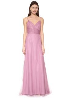 Monique Lhuillier Bridesmaids Draped Tulle Gown