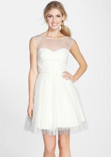 Monique Lhuillier Bridesmaids Illusion Yoke Tulle Fit & Flare Dress