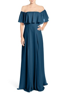Monique Lhuillier Bridesmaids Off the Shoulder Chiffon Gown